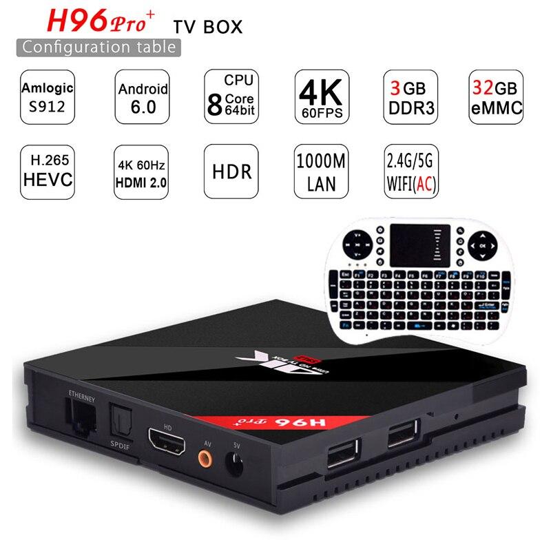 [Original] h96 pro plus 3g 32g Smart TV Box Android 7.1 Amlogic S912 OCTA Core Wifi 4 Karat H.265 h96 media player h96pro set top box