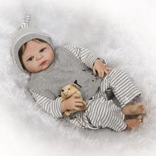 55cm Full Silicone Body Reborn Baby Doll Toy Realistic Newborn girl Babies Doll Brinquedos Bathe Toy все цены