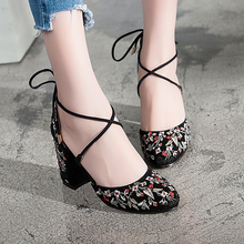 Leather sandals in the summer of 2017 the new national style fashion leisure square with ladies high-heeled shoes women big size