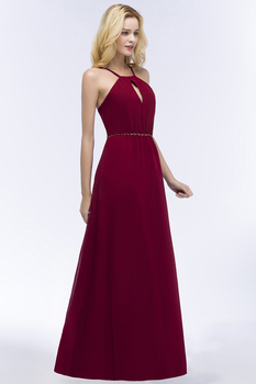 24 Hours Shipping Crystals Belt Burgundy Prom Dresses Long Vestido De Festa Sexy Backless Halter Neck Evening Party Dresses 5