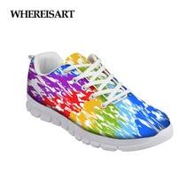WHEREISART Graffiti Design Women Shoes Casual Sneakers Female Breathable Summer Mesh Ladies Flats Walking Footwear Buty Damskie
