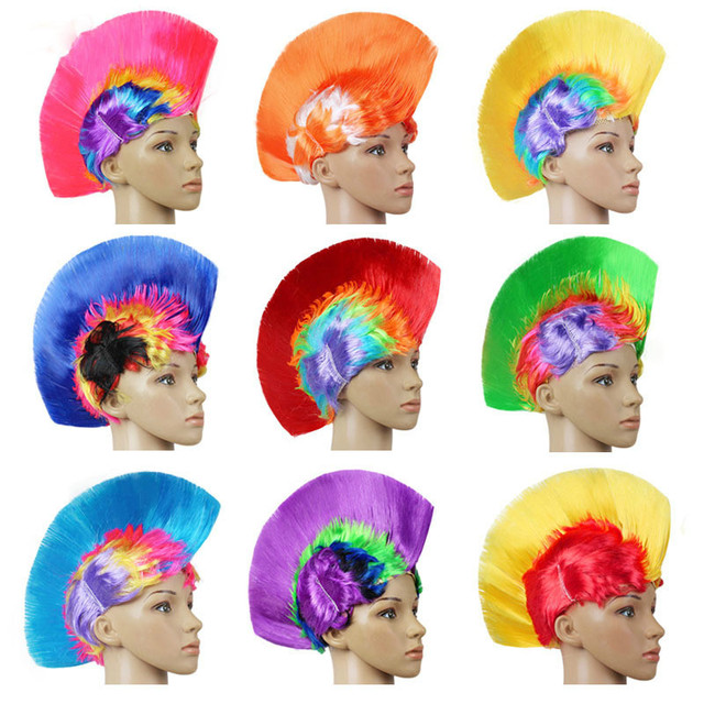 fashion 1pcs punk wig mohawk fashion synthetic party rainbow halloween party festival fashion rainbow wig cockscomb