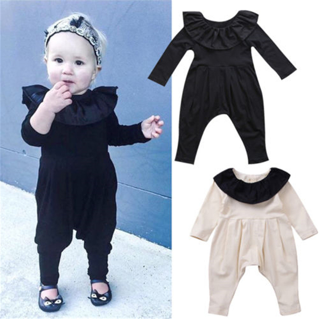 16adb3f5baa 2 Color Baby Girl Ruffles Romper Newborn Baby Girls Long Sleeve Romper 2018  New Bebes Jumpsuit Baby Girls Harem Clothes Outfits