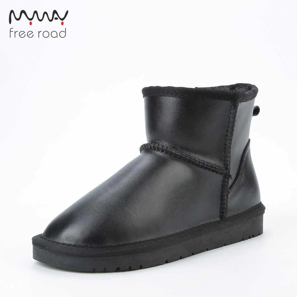 Ankle Boots Waterproof Cow Leather Short Winter Snow Boots For Women Casual Winter Ankle Shoes No-slip Sole BlackAnkle Boots Waterproof Cow Leather Short Winter Snow Boots For Women Casual Winter Ankle Shoes No-slip Sole Black