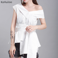 KoHuiJoo Cotton Blends Blouses 2019 Women Short Sleeve Summer Sexy Shirt White Black Ladies Korean Tunic Tops