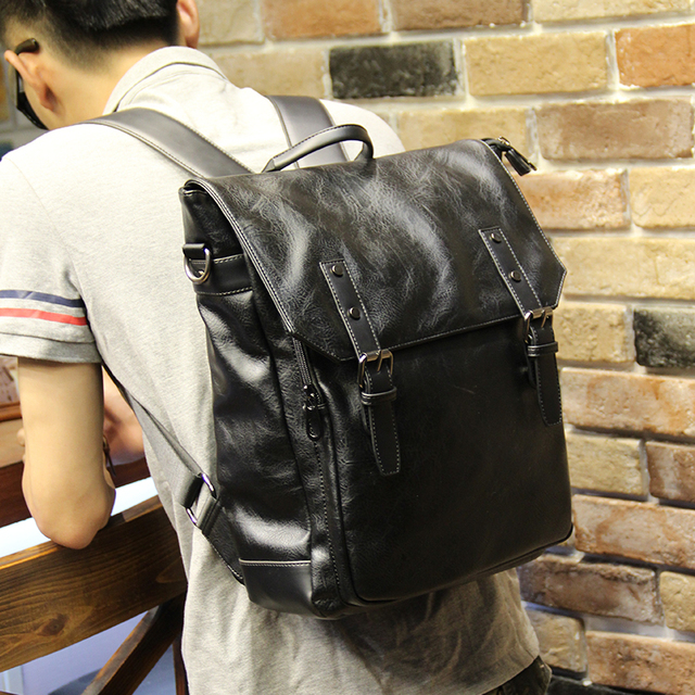Fashion Classic Cool Black PU Leather Men Backpack Promotion Solid Black  Mens Laptop Backpack Leather Backpack 0402e65f82487