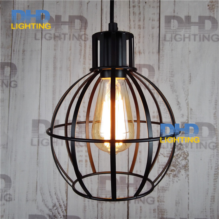 Free shipping one sample New Style geometrical figure round cage shape simple iron black finished with 1.1 meters pendant lamp