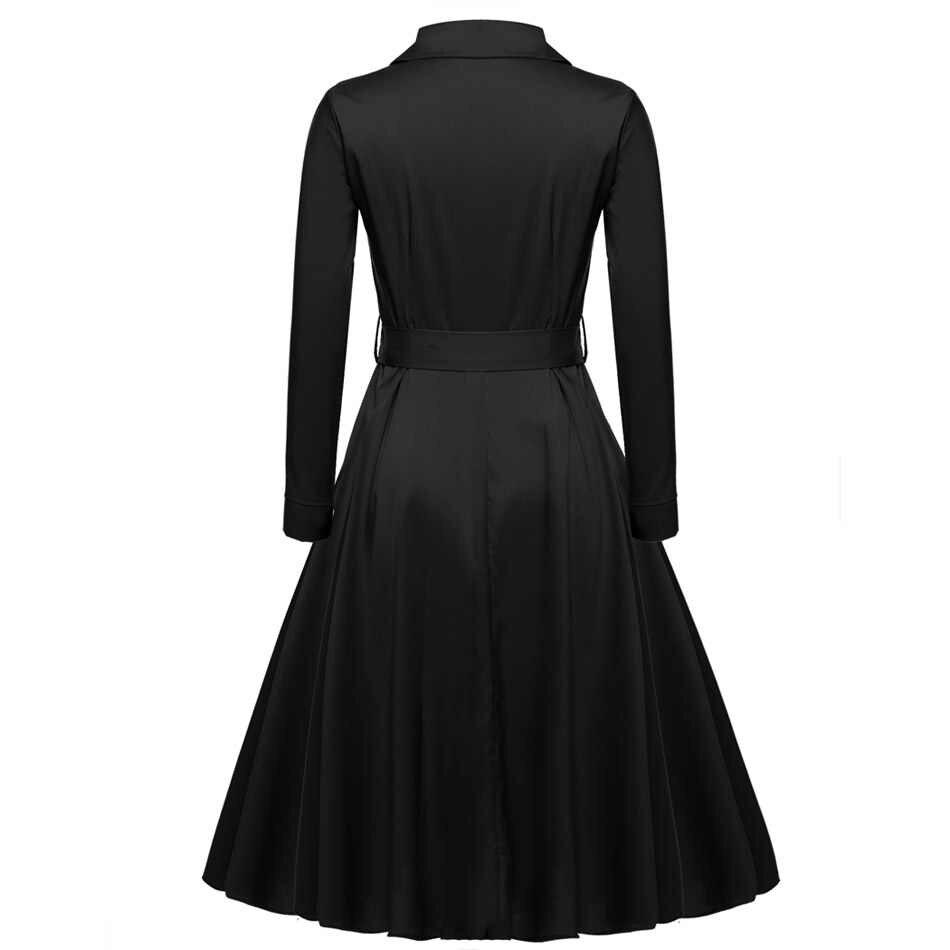 ACEVOG для женщин Повседневная рубашка платье длинное, свободное рукавом Осень Зима Новинка 2019 года Горячие vestido de festa элегантное черное 3 цв