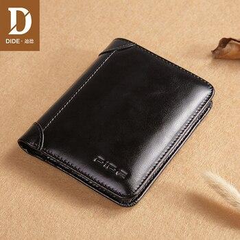 d5dc405826c9 DIDE роскошный бренд мужской кошелек 100% из натуральной кожи мужской  короткий кошелек мужской кошелек винтажный кошелек Стандартные визитниц.