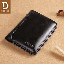DIDE Luxury Brand Men Wallet 100% Genuine Leather Man Short Male Vintage Purse Standard Card Holders Wallets