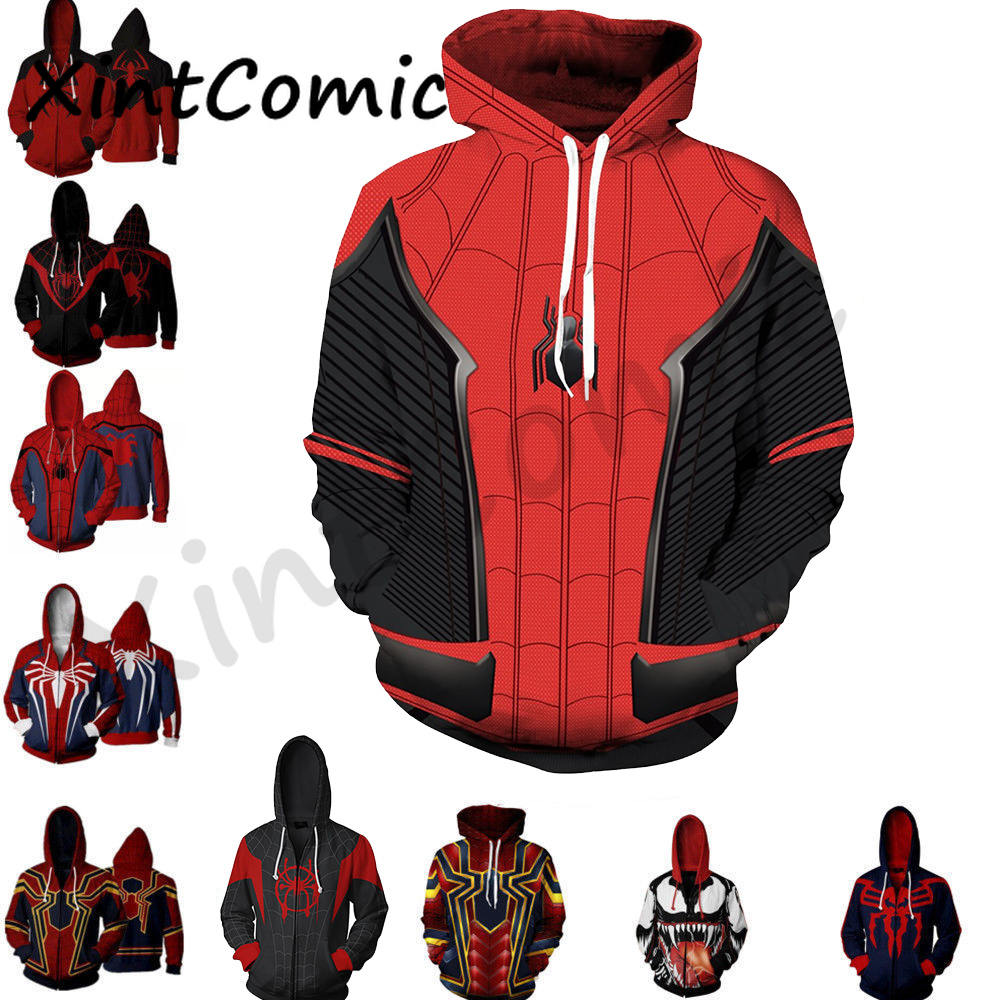 3D Printed The Avengers Iron Man Spiderman Costume Hoodies Men Superhero Spider Verse Hooded Cosplay Sweatshirts Casual Tops