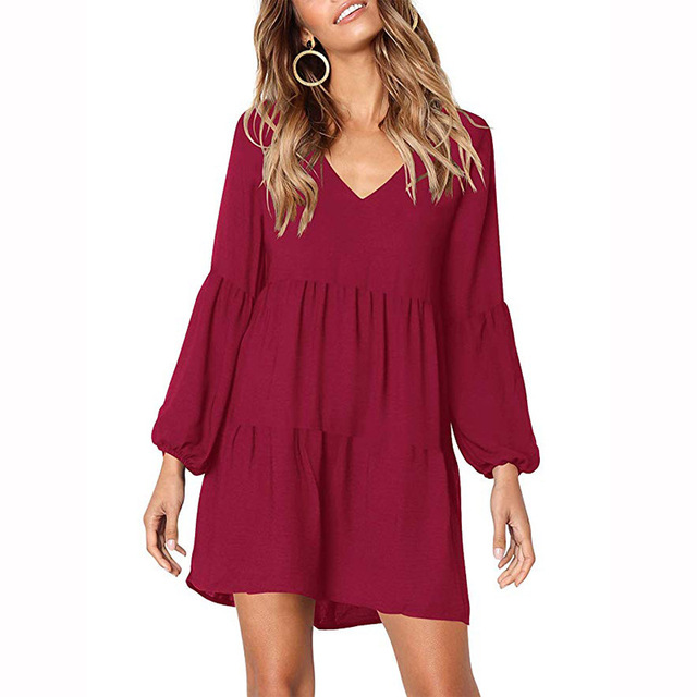 Draped 2018 Autumn Winter Dress Fashion Women Casual Loose Elegance Dress Long Sleeve V-Neck Sexy Black Wine Red Dress Vestidos