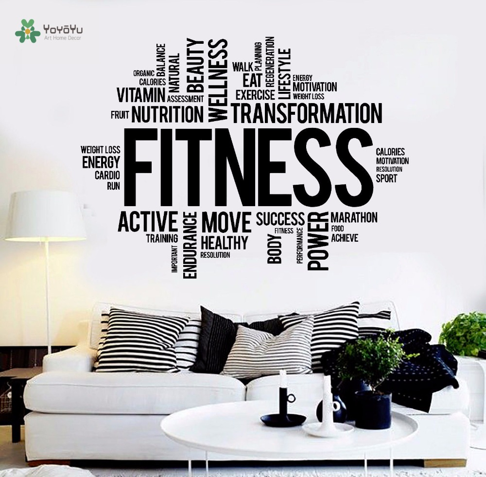 YOYOYU Wall Decal Vinyl Decoration Living Room Fitness Words Healthy lifestyle Gym Motivation  Stickers YO247