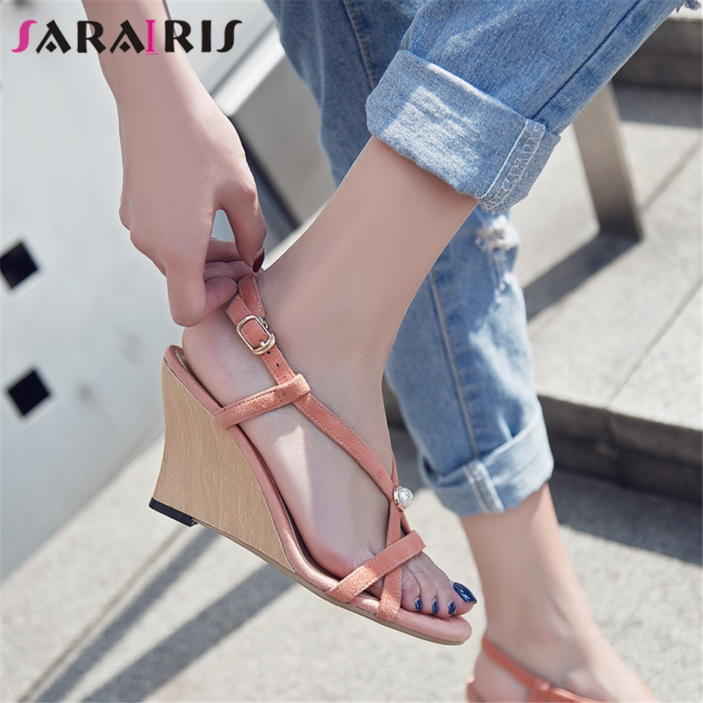 SARAIRIS New Arrivals 2019 Kid Suede Sandals Woman Shoes Wedges Heels Peep Toe Party Wedding Shoes Woman Sandals Lady Shoe