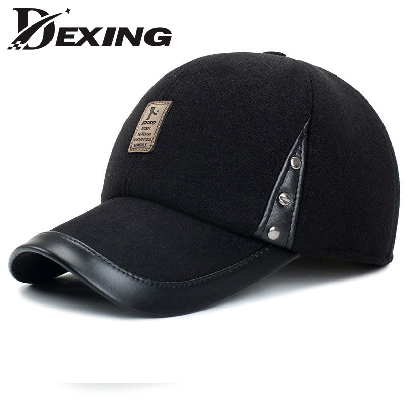 [Dexing]Autumn Winter Baseball Cap Woolen Leather Cap Warm Hat Baseball Cap With Ear Flaps Flat Top Caps For Men Casquette