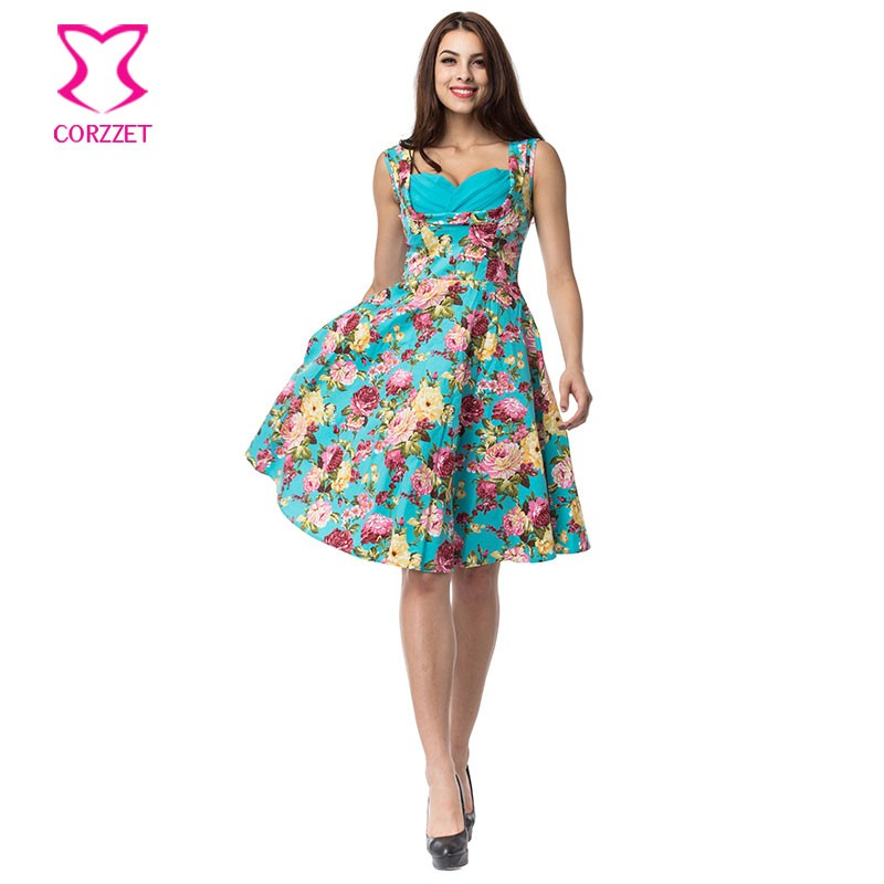 US $23.94 43% OFF|Corzzet Blue Cotton Floral Print Women Summer Dress Plus  Size Robe Retro Swing Casual 50s Vintage Rockabilly Dresses Vestidos-in ...