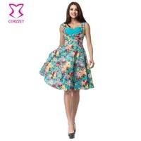 Corzzet Blue Cotton Floral Print Women Summer Dress Plus Size Robe Retro Swing Casual 50s Vintage Rockabilly Dresses Vestidos
