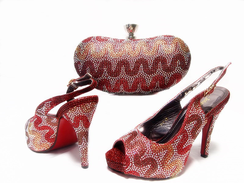 ФОТО Wine Color Elegant Italian Women Shoes and Bag Set Women Shoe and Bag To Match for Parties Italian Matching Shoe and Bag JA10-3