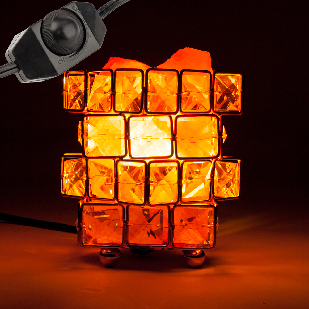 Vanity Lights Cube Shape Healthy Life Himalayan Natural Crystal Salt Light Air Purifying Himalayan Salt Lamp For Bedroom Dimmer Switch Us Plug
