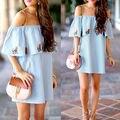 Sexy Women Summer  Light Blue off the Shoulder Dress Casual Evening Party Beach  Print Short Mini Dress S