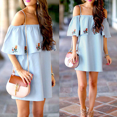 f2ab6723d40 Sexy Women Summer Light Blue off the Shoulder Dress Casual Evening Party  Beach Print Short Mini Dress S