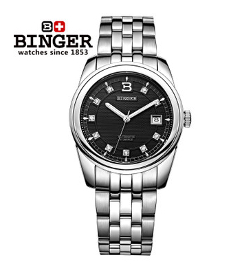 Binger New White Gold Alloy Steel Carving Black Dial Watches Luxury Brand Women Men Watch Auto Calendar CZ Diamond Wristwatch binger trendy women man steel rhinestone watch luxury brand design cz diamond watches white big dial 200m waterproof wristwatch