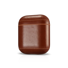 Anti-arranhão Genuína fone de Ouvido habitação Caso Capa protetora de Couro shell bolsa de armazenamento Bag Capa para Apple AirPods Coleção