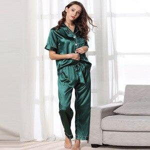 Image 2 - Fiklyc ropa interior de manga corta para mujer, juego de pijama de satén, pantalones largos, hermoso uso en interiores