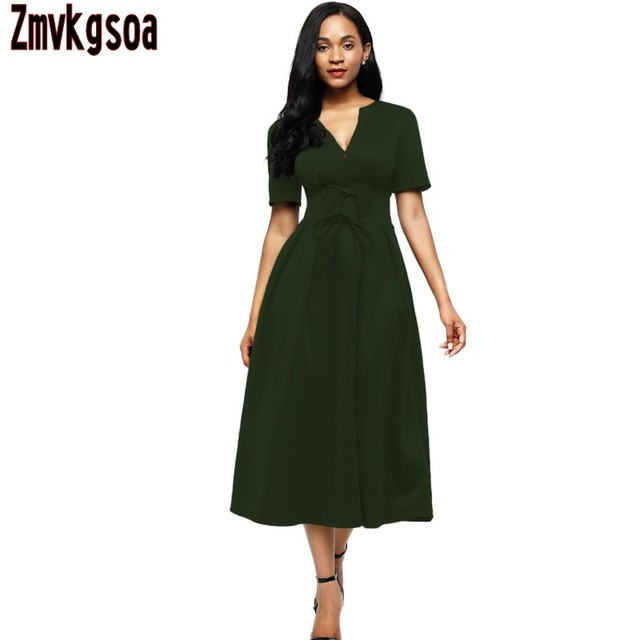 bfb48826820c Zmvkgsoa 2018 Short Sleeve Women Elegant A-line Dress Formal Style High  Waist Midi Skater Dresses Girls with Bow Vestidos V61692