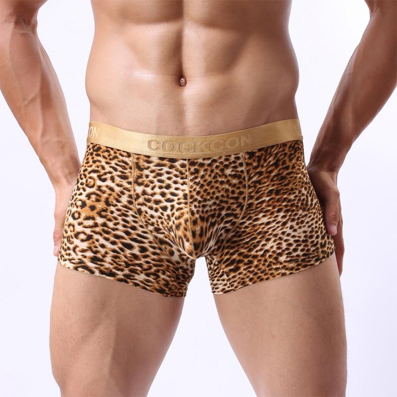 Pouch Underpants Enhancing Boxers Slips Men Shorts Bulge COCKCON Fancy Seamless Leopard