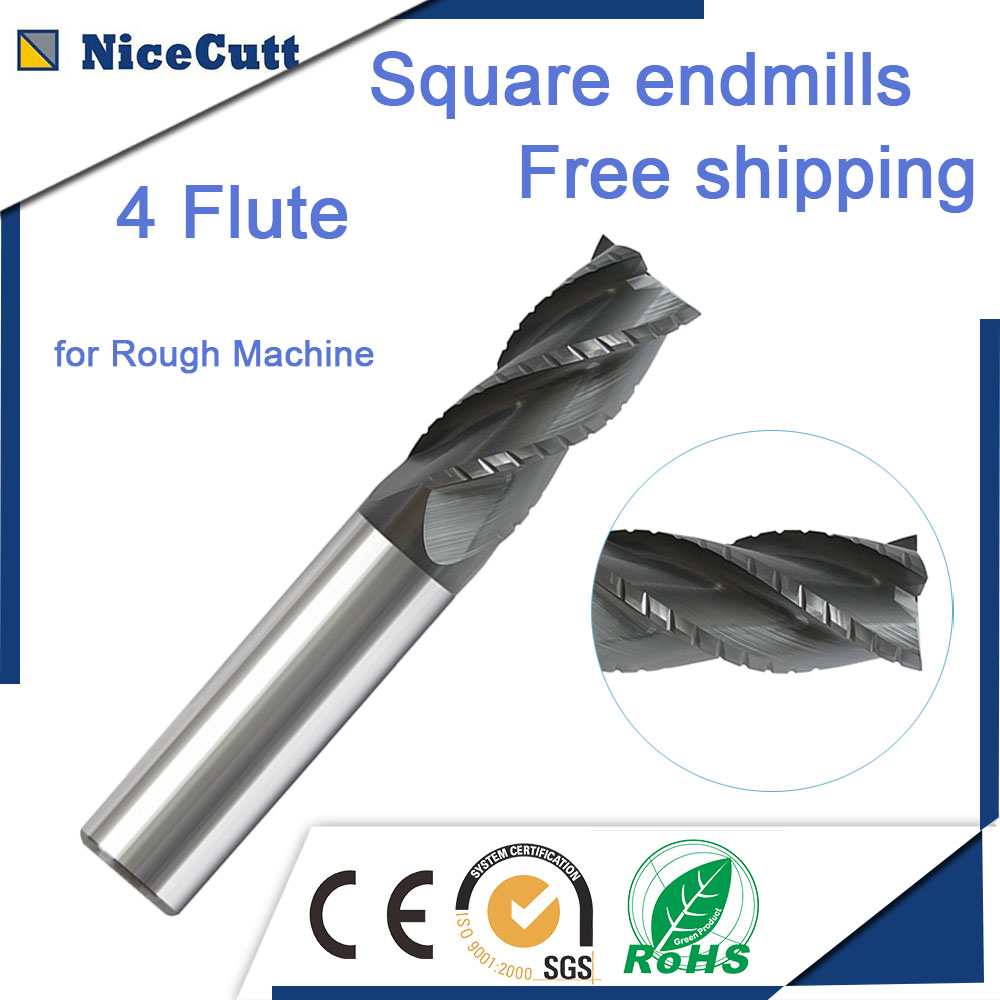 Free Shipping Milling Cutter 4 Flute Solid Carbide Square End Mill High Quality AlTiN Coating for Rough Machine