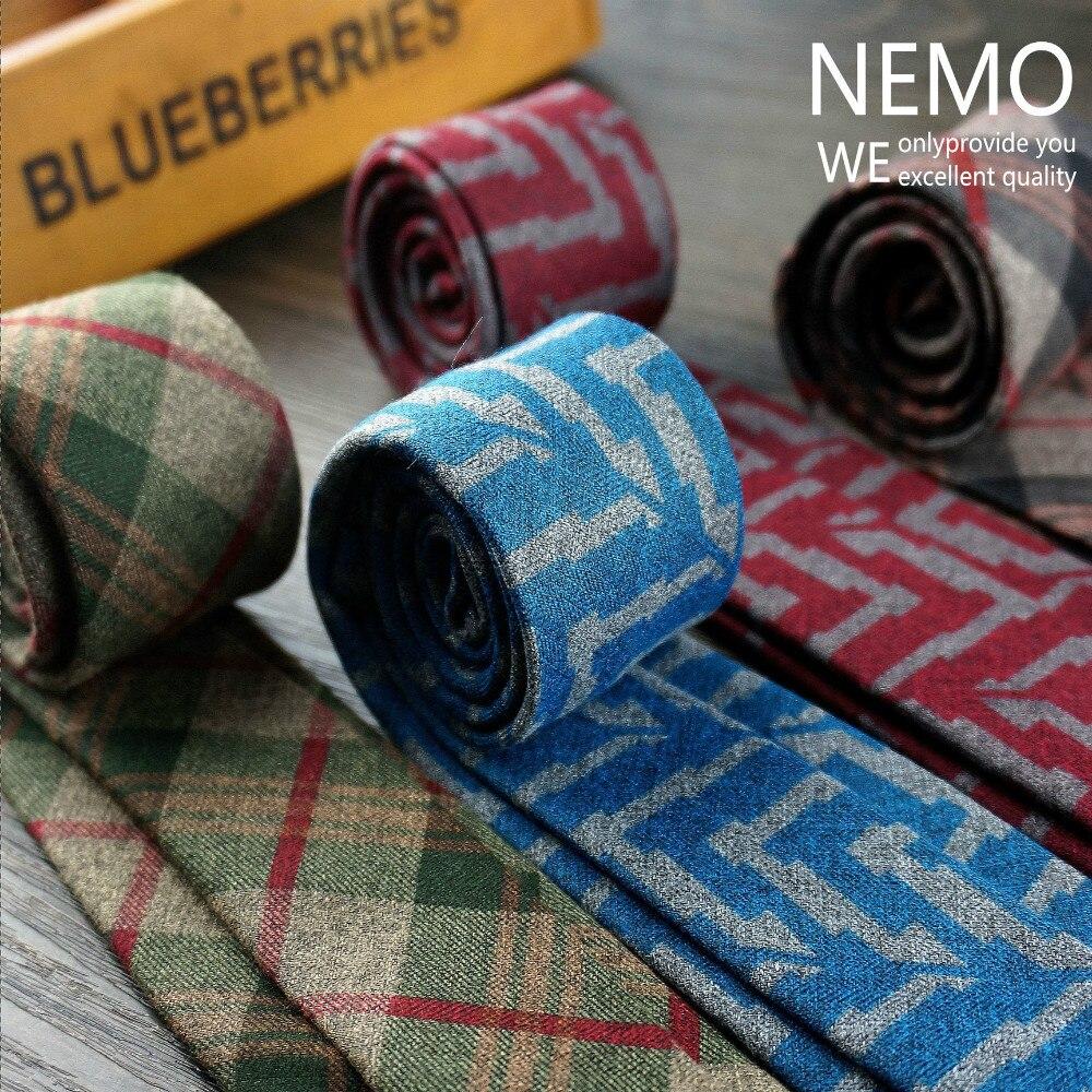2019 New Fashion Designer Plaid Wool Slim Ties For Men 6cm Wide Skinny Plaid Necktie Red Blue Wedding Cotton Scotch Narrow Tie