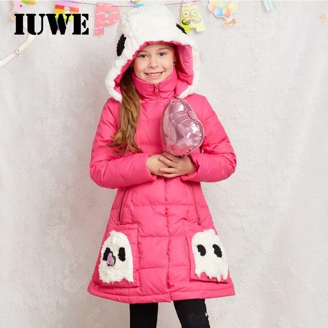 2017 розовый детская теплая зима утка Пух куртка для Обувь для девочек милый мультфильм капюшон Длинные линии толстый ребенок Пальто и пуховики 8 10 12 подростков детская одежда