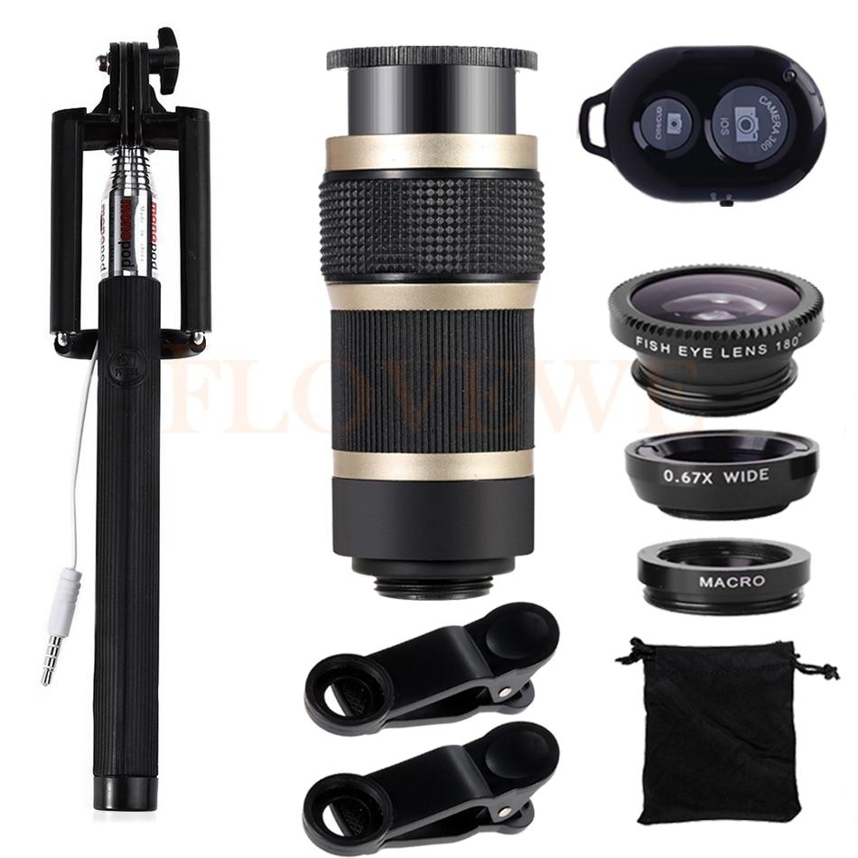 10in1 Mobile Lenses Kit 8X Telephoto Zoom Lentes Wide Angle Macro Fisheye Fish Eye Lens For