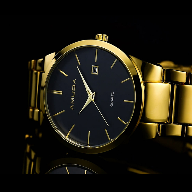 2016 Mens Relógios Top Marca de Luxo Da Moda de Aço dos homens Relógio de Pulso de Quartzo Negócio Relógio Masculino Relógio relogio masculino Dourado