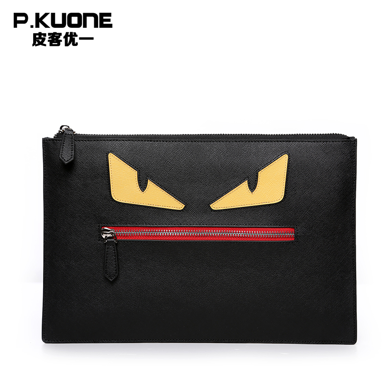 P.KUONE Cowhide Leather Men Wallets Pattern Clutch Bag Messenger Wallet Bag Famous Luxury Brand Purse Casual Handbag Evening Bag 2016 famous brand clutch wallet natural cowhide men wallets genuine leather bag classic handbags mens clutch bags big hand bag
