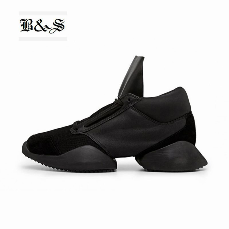 Black& Street Exclusive 2018 New Tide genuine Leather Martin Boots European station star catwalk tank leather Boots Unisex shoes perdido street station