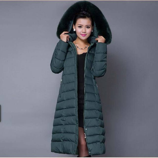 Большой размер женщины с капюшоном тонкий 4XL 5XL вниз пальто зима меховым воротником толстый x-долго куртка женский верхняя одежда 2015 мода BL1208
