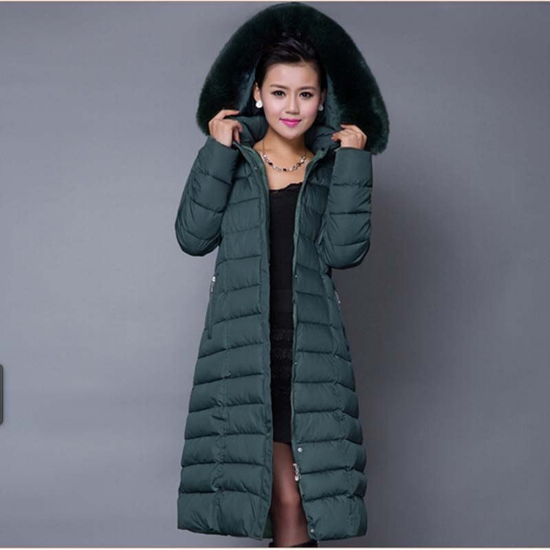 Plus Size Women Hooded Slim 4XL 5XL Down cotton Coat Winter Fur Collar thick x-long Parka Female Outerwear 2015 Fashion BL1208 mcckle women winter coat thick warm parka with big fur collar plus size fashion hooded cotton padded long puffer coat outerwear