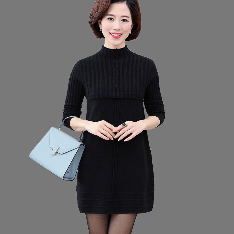 Hiver Mi Coréenne rose Et Tricoté Ans Jersey De Noir pourpre Mère Robe Automne Veste 40 Version 50 Chandail 30 Âgés Femelle q7FYB