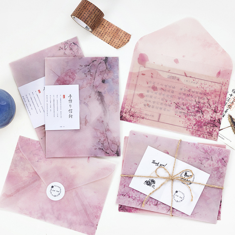 3 Pcs/set Cherry Blossoms Sulfuric Acid Paper Envelope Stationery Office&School Supplies Envelope For Wedding Letter Invitation
