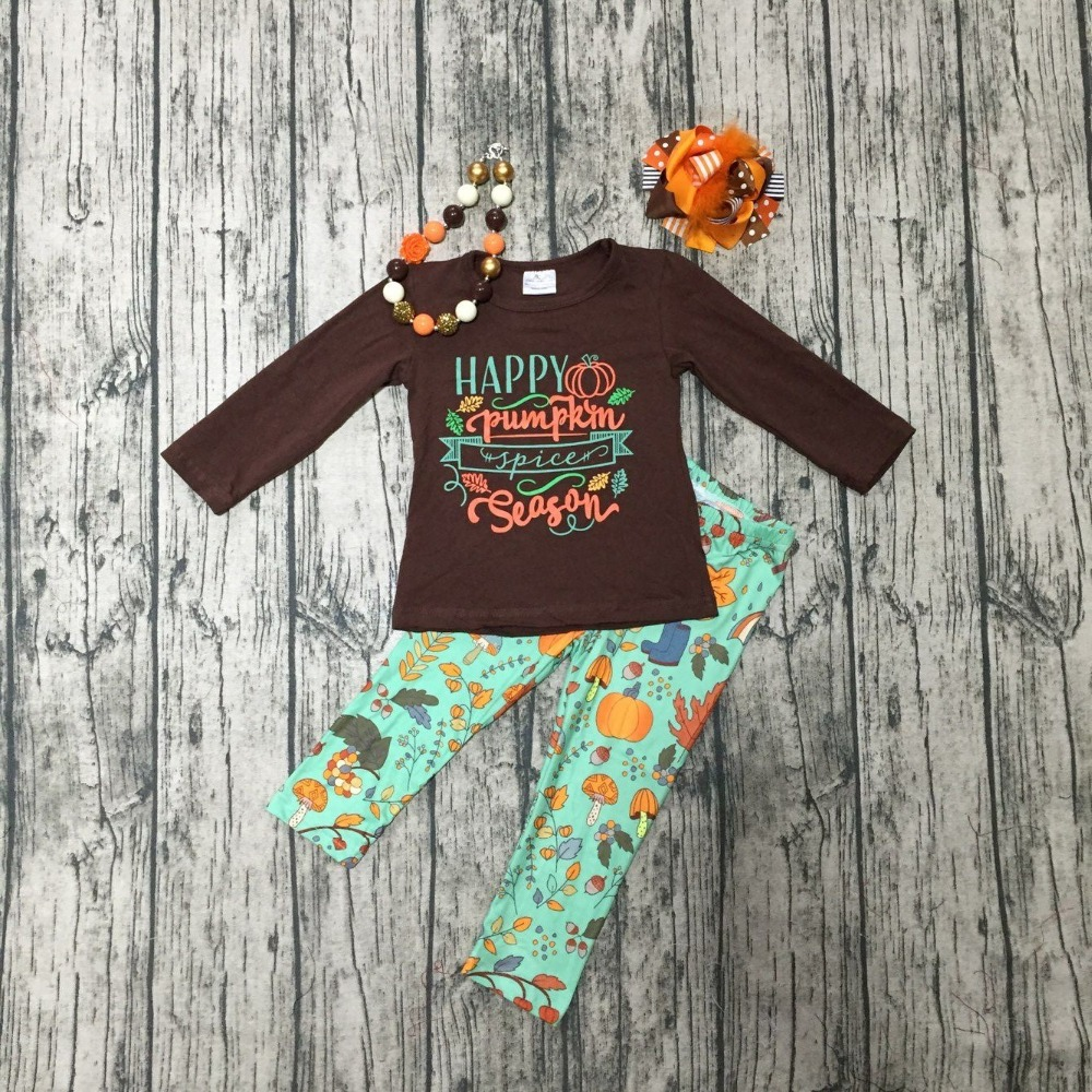 Fall/Winter outfits Thanksgiving clothes happy pumpkin season brown green long sleeves boutique pant match accessories cotton thanksgiving baby girls kids fall striped brown outfits dress pumpkin boutique cotton sleeve children clothes match accessory