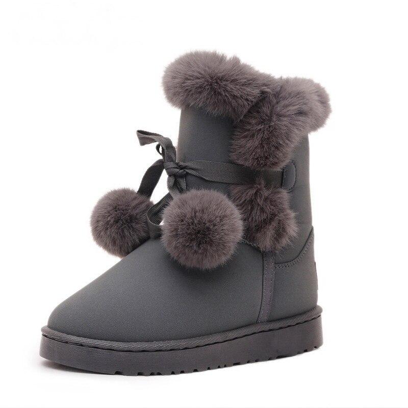 Piel rosado Nudo Negro Llegada Invierno Ternero De Mujer Nueva Pompón 2018 Nieve Mediados Señoras Botas Zapatos Agutzm Encantadoras Peluche gris 7TwIHI