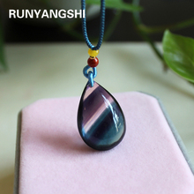 Natural crystal stone Colorful fluorite Pendant Charm Jewelry Healing Chakra Personalized Necklace Gem Quartz Droplet shape