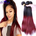 Ombre Brazilian Hair Straight 3PCS 1B#99J dark roots Burgundy end red Human Hair Weave Bundles HANNE Colorful Hair Weft