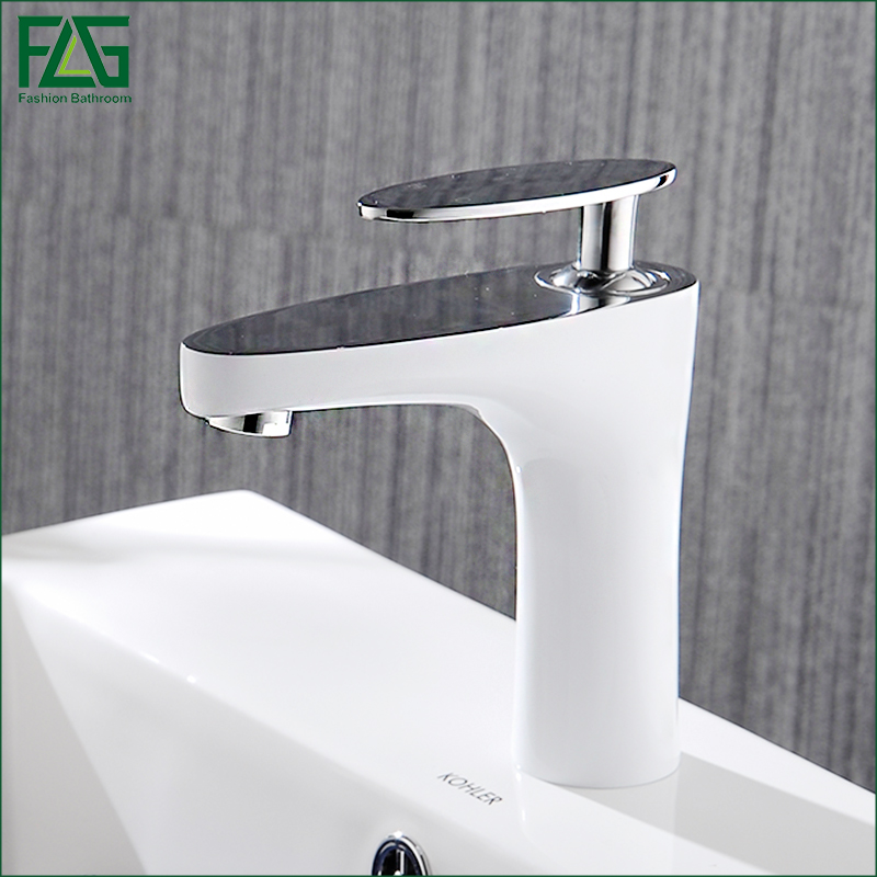 FLG Basin Faucet Grilled White Paint Chrome Finish Bathroom Faucet Single Handle Bathroom Basin Mixer Tap,Free shipping 822-11WC free shipping polished chrome finish new wall mounted waterfall bathroom bathtub handheld shower tap mixer faucet yt 5333