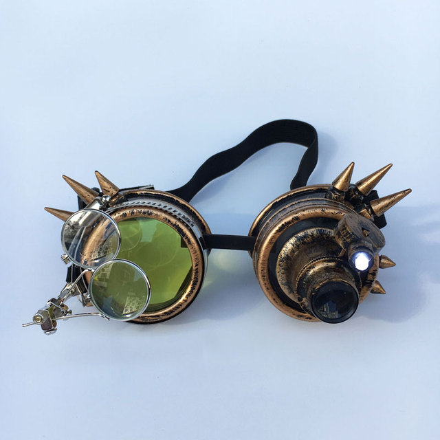 Cosplay Steampunk Goggles With Light Bulbs And Magnifying