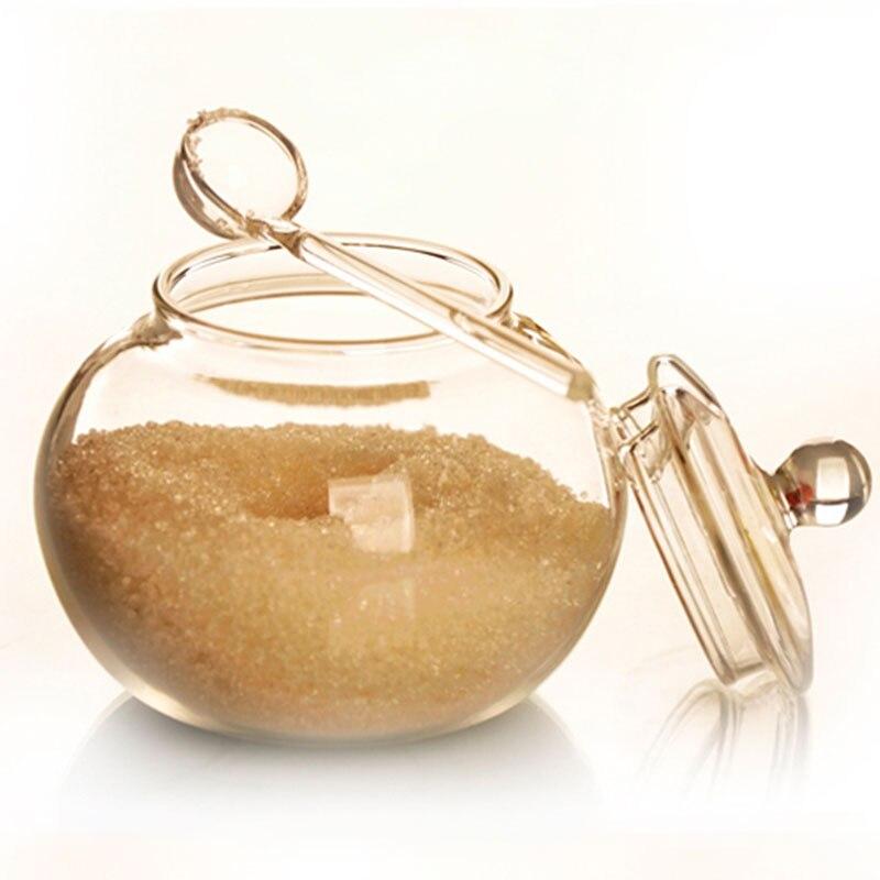 SOLEDI 250ml Glass Jar Candy Cylinder Cooking Sugar Bowl Saleros De Cocina