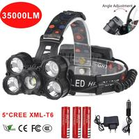 35000 Lumen headlamp 5 Chip XM L T6 LED Head Lamp Flashlight Torch Lanterna Headlight Headlamp with batteries AC charger