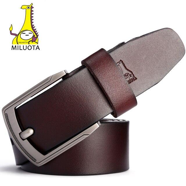 [MILUOTA] Designer Belts Men High Quality Cow Genuine Leather Belt Men Brand Vintage ceinture homme Jeans Strap Male MU068